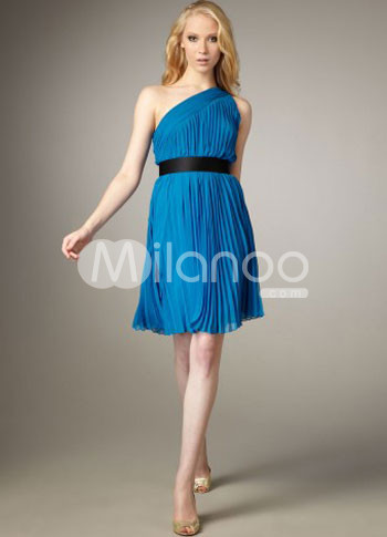 Light Blue One-Shoulder Pleated Chiffon Cocktail Dress :  light blue chiffon one shoulder cocktail dress