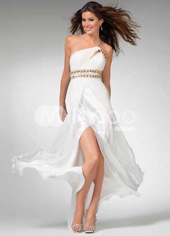 Sexy White Chiffon Satin One Shoulder Sash Evening Dress from annanism.tumblr.com