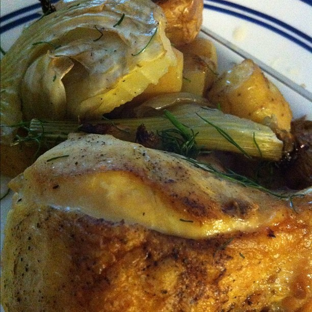 roasted chicken with potatoes and fennel (Taken with instagram)