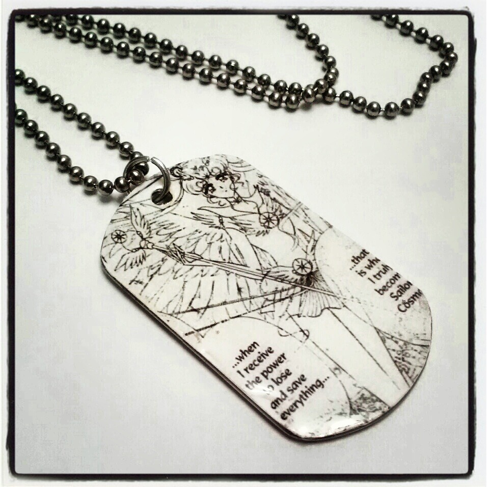Here's another set of custom order dog tag necklaces that I did.   If you would like something similar, we have the custom order listing for personalizing your dog tags: http://www.etsy.com/listing/94976167/custom-order-dog-tag-necklace-character