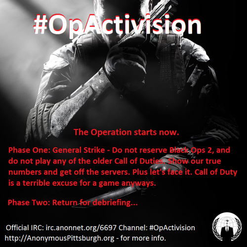 Brothers and Sisters of #Anonymous, #OpActivision is here. Help spread the word about Phase One. This will be something that the world needs to see. If you have any ideas, please join our forums, and join the conversation.