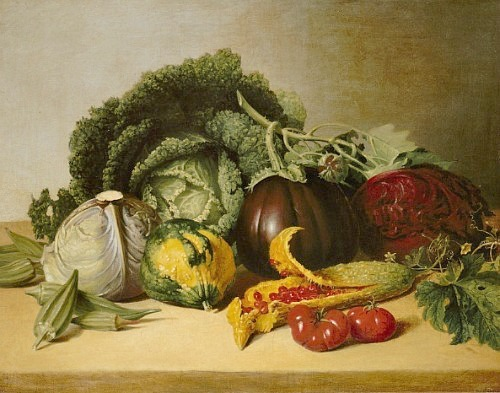James Peale Still Life: Balsam Apple and Vegetables 1820-29