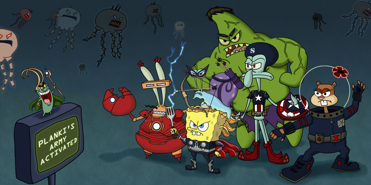 Planki's Army The Avengers / SpongeBob SquarePants mashup created for www.draw2d2.com