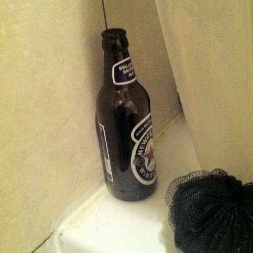 This is how you know you live in a man-cave. #beer #newcastle #shower (Taken with instagram)