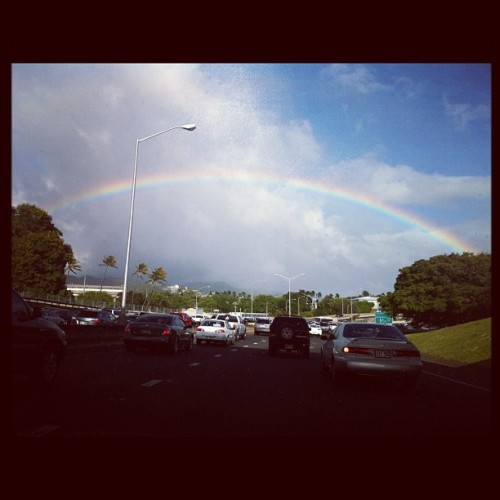Rainbow telling me it's okay to be in traffic. #hawaii #hiweather  (Taken with instagram)