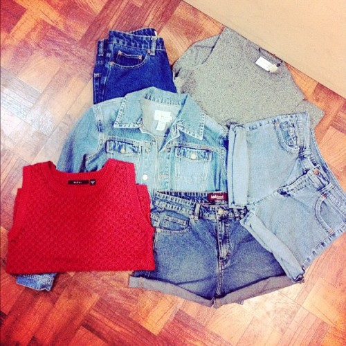 Denim! High waisters. 💗 #fashion #haul #jeans #shopping #shorts #vintage #thrift #calvinklein #lee #tops #shorts #highwaistedshorts #denim #jacket #igdaily #igaddict #knits #muscletee #acidwash (Taken with instagram)