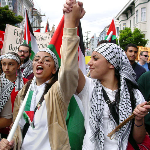 "Why the Question of Palestine is a Feminist Concern(read here)  Reblogging mostly for the picture! The argument of the article is mostly just, ""all forms of oppression are bad,"" which is true, but you'd kind of hope feminists would know that already (although given how broad the range of opinions held by self-professed ""feminists"" are, it's certainly not something you could ASSUME). Read it if you want, clearly I did, but most of all let's love this picture of defiant Middle Eastern women :)"