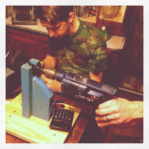 garron re winding some P-Bass pups.  (Taken with instagram)