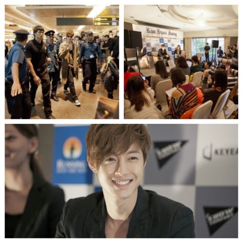 "Thousands of Fans Welcome Kim Hyun Joong in Singapore for ""Fan Meeting Tour 2012"" by: thunderstix on May 3, 2012 @ soompi.com  Kim Hyun Joong arrived in Singapore on May 2 to kick of his ""Fan Meeting Tour 2012."" Although he arrived during the day, thousands of fans came out to greet the star singer/actor, nearly paralyzing the airport.  It was reported that the fans brought gifts and posters to welcome Kim Hyun Joong, and the Korean star responded with a warm smile and hand waves. During the press conference that was held right after his arrival, Kim Hyun Joong expressed his confidence in the special stage he prepared for this tour. Local media particularly made note of Kim Hyun Joong's polite and humble demeanor, as he answered all of the questions in as much detail as possible.  Meanwhile, Kim Hyun Joong will hold the first concert for his ""Fan Meeting Tour 2012"" on May 4 at the Singapore Indoor Stadium."