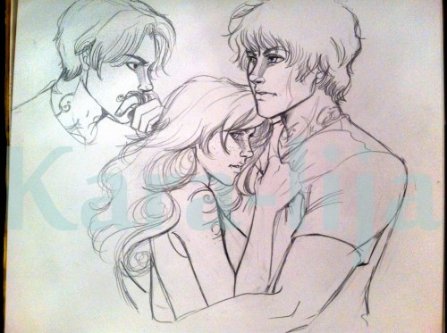 Art from Kara! Jonathan, whatever you're doing, it's creepy… karalija:  Sneak peek of my WIP of Sebastian, Clary and Jace from The Mortal Instruments by Cassandra Clare.