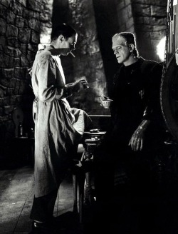 oldhollywood:  Colin Clive & Boris Karloff on the set of Bride of Frankenstein (1935, dir. James Whale) (via)