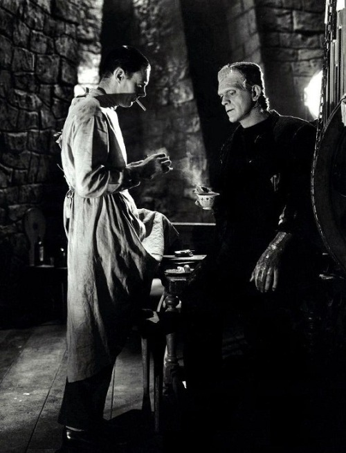 Colin Clive & Boris Karloff on the set of Bride of Frankenstein (1935, dir. James Whale) (via)