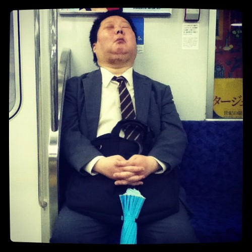Black eye, scuffed chins, what happened to you, big guy? #tokyo #subway (Taken with instagram)