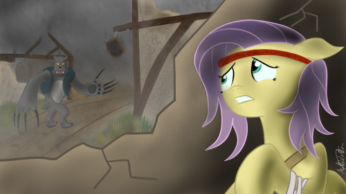 """I found my way back in Ponyville, and hoped and hoped that I would find anypony there. I was frightened, hungry, and the overcast skies were bringing a cold chill that made me shiver at each breeze. ""But there was nopony there, and the town, the place that had been the birthplace of so many wonderful memories, was a mess. Buildings had collapsed and burned, and the streets were so awfully silent that I could hear my racing heartbeats in my ears as I began to panic. ""Suddenly, I heard a sound; a low, threatening growl, that was coming from around the corner of a house. I dived over a crumbled wall and hid in the corner, daring to peek through the gaps in my mane. I immediately regret it as I saw a large creature pass me, dragging its cumbersome arms along the ground idly, its unnaturally long claws slicing through the packed dirt road like a shiny, new plow. ""I clambered onto my hooves and quickly pushed myself against another wall to stay hidden, the sound causing the Hound to look behind itself, right where I used to be. I held my breath and closed my eyes, and told myself over and over in my mind that everything will be okay. Everything will be okay.""  ~=~  IT'S DONE~! I'm really, REALLY, pleased with this one! Just look at it! It's freaking gorgeous!"