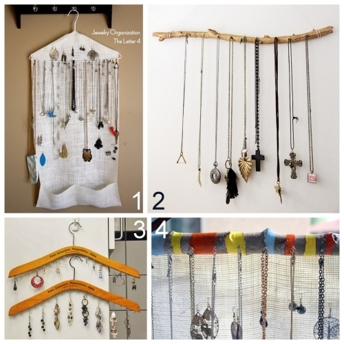 Four Hanging Jewelry Display Tutorials That I Like: DIY Ten Minute Easy Burlap Hanger Jewelry Organizer (theletter4) here. DIY Gold Jewelry Display Branch Wrapped in Wire (mojomade) here. DIY Jewelry Hanger Jewelry Display (Household 6 Diva) here. DIY Painted Branch with Burlap Jewelry Organizer (theletter4) here.