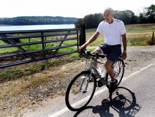 """Ron Paul sought to reassure reporters that he's healthy enough to be president. The 76-year-old Texas congressman responded playfully, 'My health? Let's do a bicycle ride!'"""