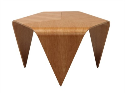 TRIENNA by Artek | Design by Ilmari TapiovaaraHexagonal wooden table veneered birch plywood…Find more and contact directly Artek http://bit.ly/IzNccg