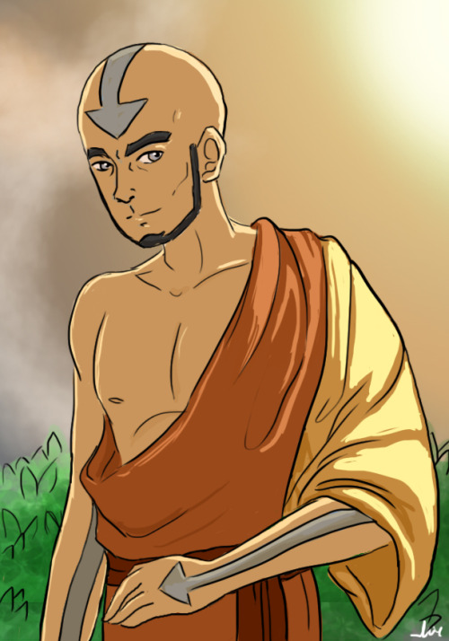 So I did some Aang sketches (some Kataang too) and I needed to colour one of them for my own sanity, so I started with this one. Someone said a while ago they wanted to see older Aang in this outfit so… I wanted to see him in that too.