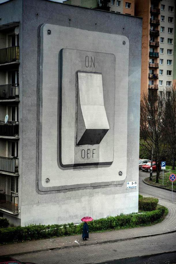 azizalbraik:  Huge On/Off Switch Building Mural by Escif