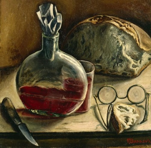 poboh:   Still life with jug of wine, bread and glasses, 1930, Francois Emile Barraud. Swiss (1899 - 1934)