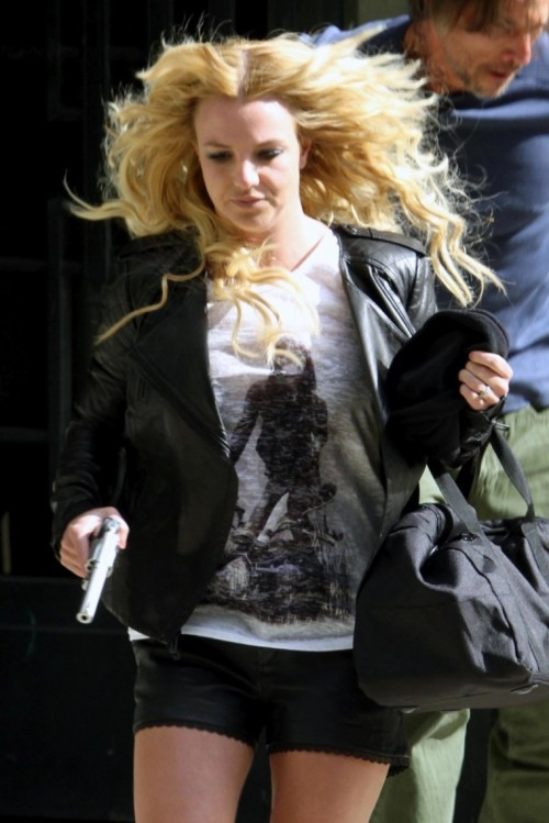 "Britney Spears shoots a music video for ""Criminal"" (2011)."