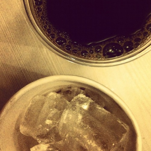 No iced black coffee in Mr. Donut— let me make one then… (Taken with instagram)