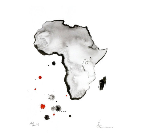 artmaps:  Original abstract watercolor Africa by Aquatory