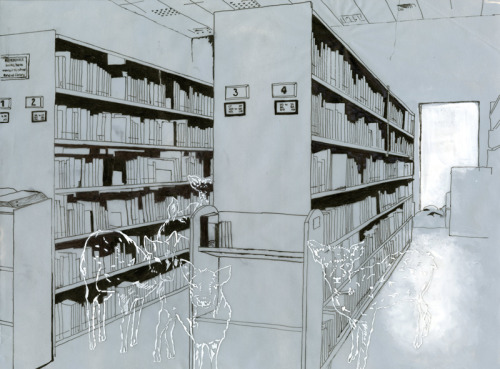 camiicediel:  Sanctuary | Library.  2012 micro pens and gouache on tracing paper, laid over gouache painted mount board