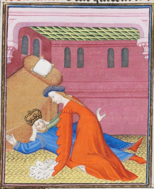 15th century (ca.1410) France (Paris) Ms. fr. 190/2, Bibliothèque de Genève, Genève  Giovanni Boccaccio: Des cas des nobles hommes et femmes fol.105v  Emperor Commodus being strangled by his mistress, Marcia.  http://www.e-codices.unifr.ch/en/list/one/bge/fr0190-2