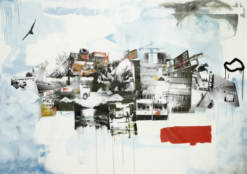 The next stop. 280 x 180cm. Acrylic, spray, oil crayon and pasted photos on canvas.