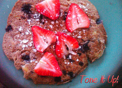 imperfectatbest:  Protein Pancakes! Protein Pancake Ingredients: 1/4 cup egg whites 1 scoop vanilla protein powder (organic brown rice protein or whey)- visit your local nutrition store or wholefoods! 2 tbs vanilla almond milk or skim 1 tsp cinnamon 1 tbs ground flaxseed After above ingredients are mixed together add 1/2 banana (mashed)- mash first, then add!! Add a handful of fresh or frozen blueberries Directions: Pour into a pan that has been sprayed with olive oil cooking spray- heat on medium.  Cook one side until you see the little bubbles… just like cooking any pancake! Flip over (careful!) and cook on the other size until the middle is done (peek inside with a fork). Top with two sliced strawberries and optional powdered stevia.  ENJOY your protein pancakes!  :) If you need more carbohydrates, you may add 1-tbs agave or organic maple syrup on top