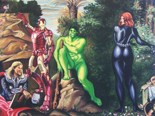 "The Choice Of The Avengers part of Gallery 1988's ""Assemble"" Avengers group show. On display May 3-6, at their newest location: 7021 Melrose Ave Purchase the Original Painting Here"
