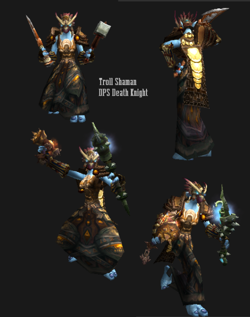 Another take on Stop's Troll Shaman who is now a Death Knight. I like transmog projects, like making one armor class look like another, or evoking out of the ordinary themes for a class or race. I can't decide if this one works best with very simple weaponry, or pulling in weapons that are as ornate as the outfit. There's a lot of detailed pieces, which don't model viewer well, but I think it all works together. The trolls are not a race that strikes me as minimalist in their ceremonial garb, anyway.  I'm also working out outfits where I make myself use cloaks. I really don't like cloaks on female tauren because it hides their tails and the strength of their movements, but there's no reason I shouldn't use cloaks on other races. Link to wowhead here.