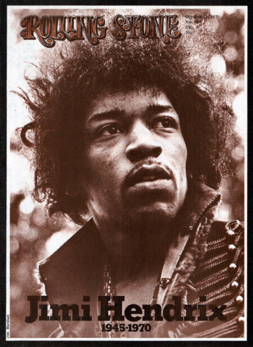 The death of Jimi Hendrix commemorated on the cover of Rolling Stone, October 1970.
