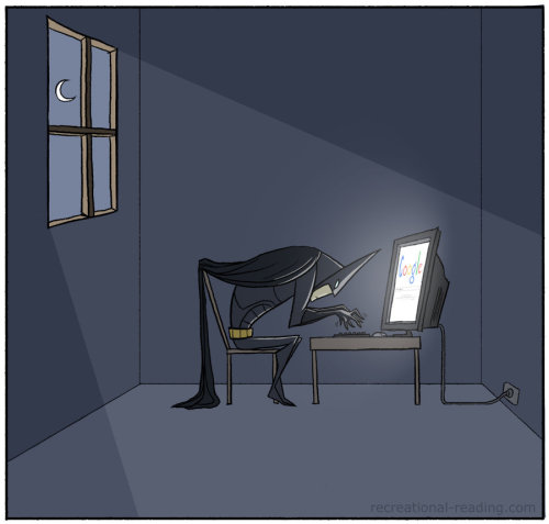 World's Greatest Detective Googling Batman illustrated by Anya McNaughton :: via tasteslikeanya.deviantart.com