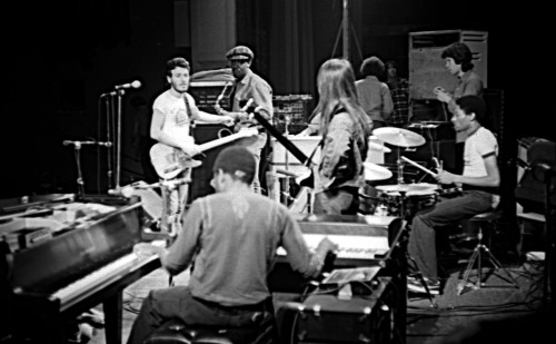 """Sound Check. Bruce Springsteen and the E Street Band. Harvard Square Theatre, Cambridge, MA 1974"""
