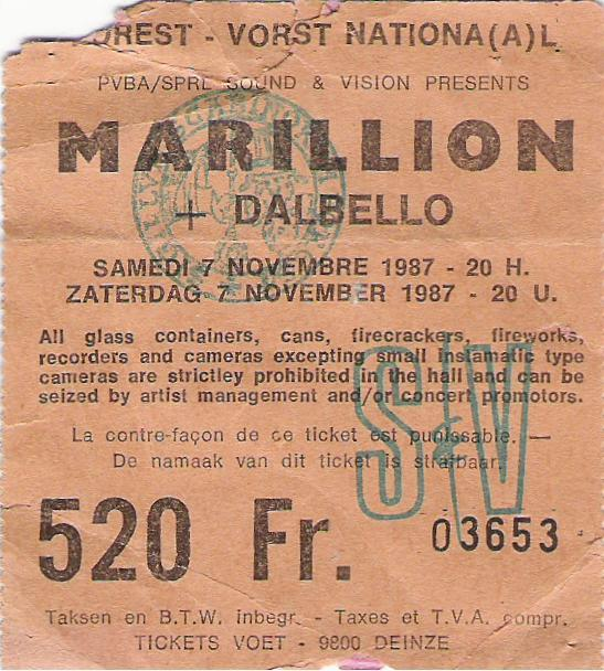 A new series….concert tickets from the past. So here it is, my first concert ever….a Marillion show in Brussels 1987. More to follow…..