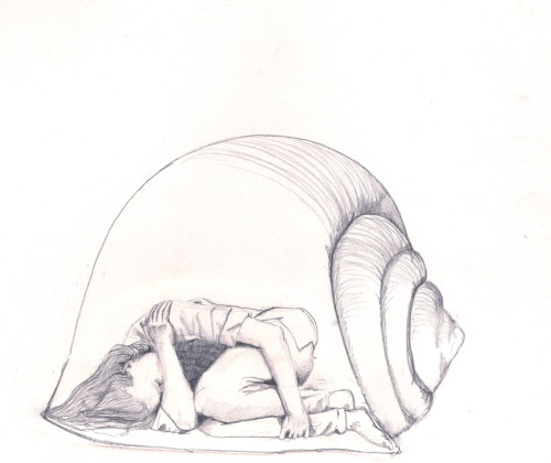 "hitrecord:  ""snail girl"" Illustration by imogenc == Contribute your Tiny Story HERE!"