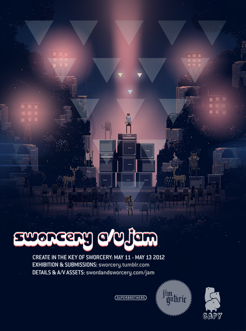 If you're a fan of the iOS (and now PC) game Sword & Sworcery (and why wouldn't you be?), you'll be interested to know that the game makers at Capy and Superbrothers are inviting you to Create in the Key of #Sworcery:  BRIEF: create artwork, sounds & whatever else in the key of #sworcery EVENT: jam alongside Superbrothers, Capy & Jim Guthrie on Friday, May 11th - 13th DEADLINE: submit before the end of Sunday, May 13th 2012 & we'll make some noise  Follow the official #Sworcery Tumblr to see/hear all the jams.