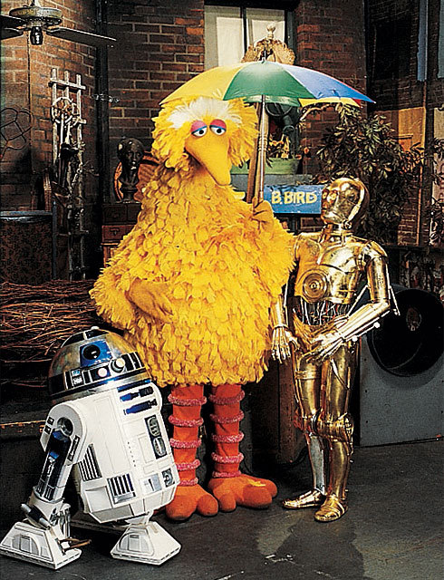 sesamestreet:  May the Fourth be with you. Always. (But just in case, take an umbrella.)   This is a photo of two of my heroes.