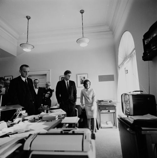 Watching lift-off from the White House President John F. Kennedy, Jacqueline Kennedy, Lyndon B. Johnson, and others watch the lift-off of the first American in space, Astronaut Alan Shepard.  The television is in the Office of the President's Secretary in White House. 5/5/61 -from the JFK Library