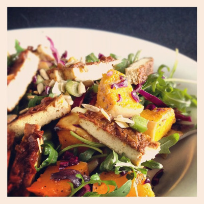 Roast butternut squash & BBQ tofu #lunch #salad #vegan by monica.shaw on Flickr.nom