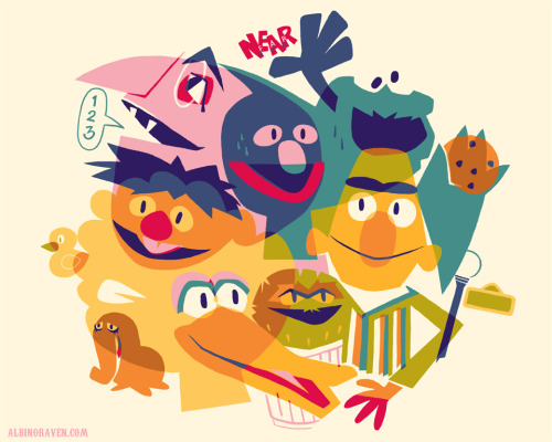 Won't you tell me how to get….? Sesame Street illustrated by Glen Brogan :: via albinoraven7.blogspot.ca