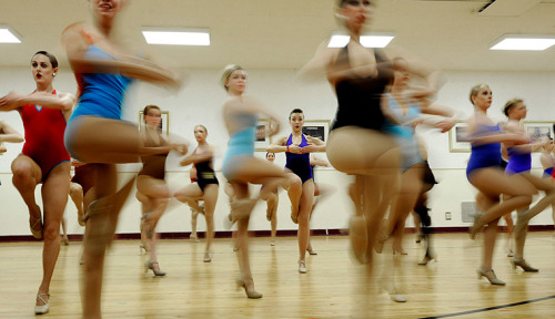 Photograph: Justin Lane/EPA  New York, US: Dancers perform during open auditions for the Radio City Rockettes dance company's 2012 Radio City Christmas Spectacular.  See more in our 24 hours in pictures series.