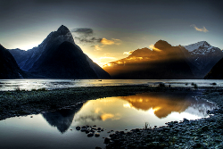 Milford Sounds. Ray of light. FIordland. New Zealand (by https://www.facebook.com/pages/Nathan-Goshgarian-P)