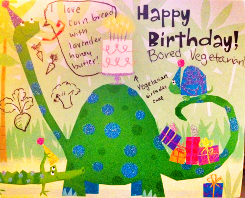 It's The Bored Vegetarian's 2 year anniversary! My friend Emma sent me a blog birthday card. Aw. Thanks for reading! I think I should make a cake this weekend…