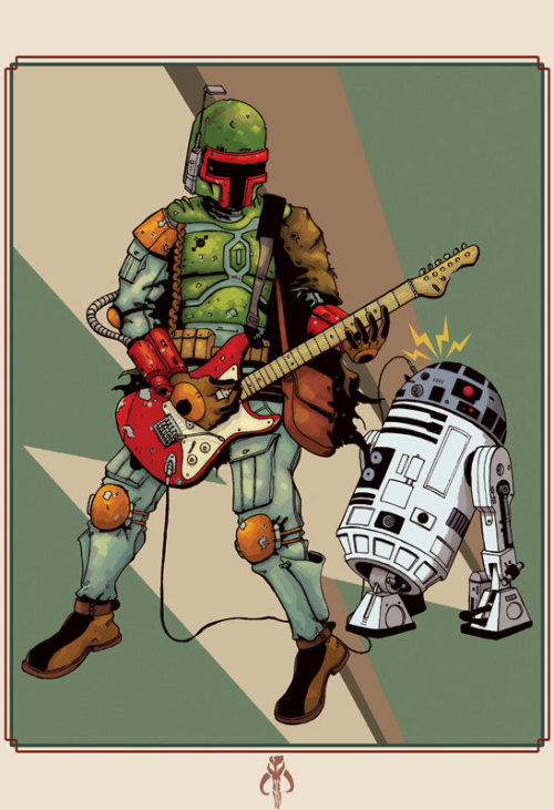 theliquidengineer:  Happy star wars day all. Boba & the Frets-Adam Guzowski Tshirts on Red bubble   Boba Fett finds another use for R2-D2