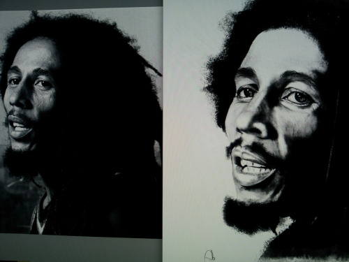 Finished my Bob Marley digi portrait. I started by jotting a pencil linear sketch on paper. Scanned it through and added detail using Sketch book Pro, then printed and rescanned it on my printer, sent to my phone ( Samsung Galaxy S2) and edited it using Pixlr-o-matic (- because I LOVE their editing suites).  Buda-bing here it is. and the pic I drew from on the left.