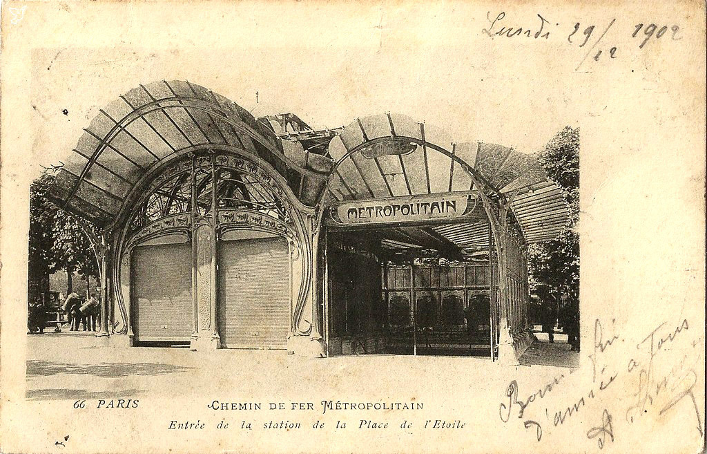 Guimard's entrance for the Métropolitain on Place de l'Etoile, Paris