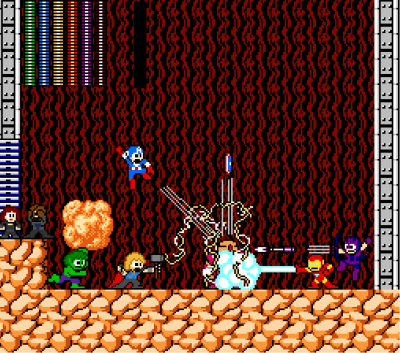 it8bit:  Avengers vs Gutsman Created by Freakajebus Artist's Note: The Avengers take on the classic Mega Man enemy, Gutsman…with ease. Nick Fury finds the utter devastation a little too much to handle, so Black Widow keeps him calm.